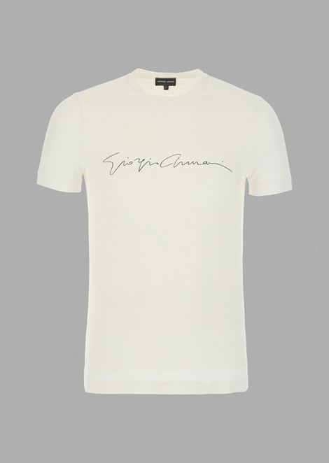 Stretch viscose T-shirt with Giorgio Armani signature