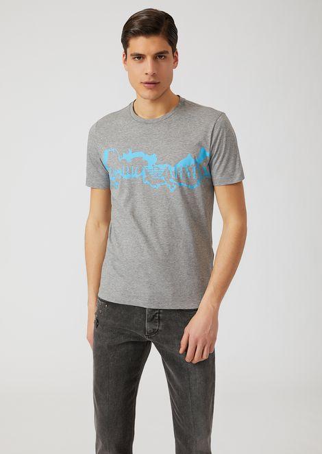 T-Shirt aus leichtem Baumwolljersey mit kontrastierendem Logoprint