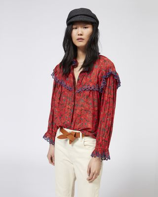 ISABEL MARANT ÉTOILE TOP Woman ELMIRA printed cotton voile shirt r