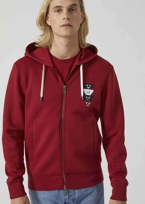 Fancy collection hooded sweatshirt with emoticon patches