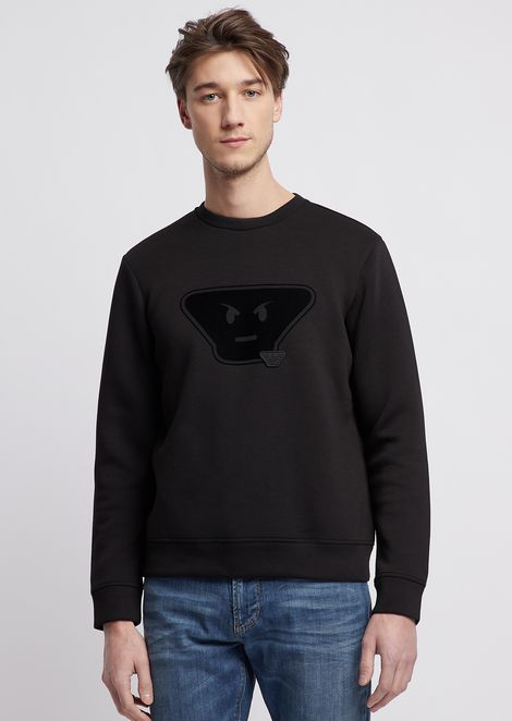 Sweatshirt in scuba fabric from the fancy collection with emoticon patches