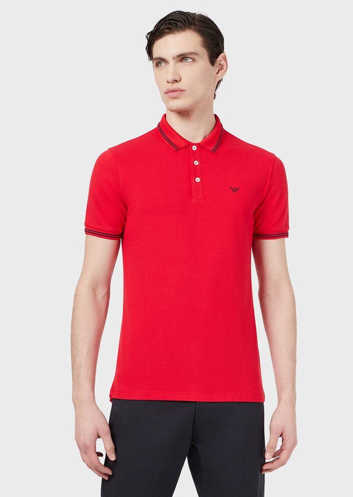 2fe59b4b Cotton piqué polo shirt with contrasting logo on chest | Man | Emporio  Armani