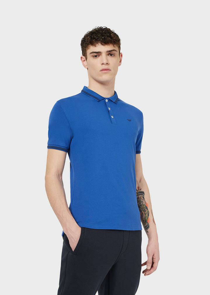 5438485472 Cotton piqué polo shirt with contrast logo detail on the chest