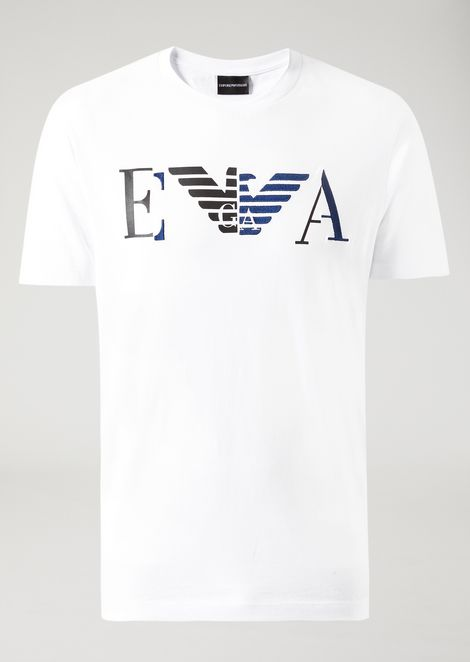 Printed jersey T-shirt with printed and embroidered EA logo