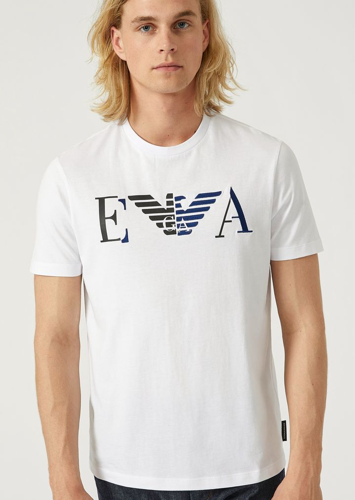 008745dc5a Printed jersey T-shirt with printed and embroidered EA logo | Man ...