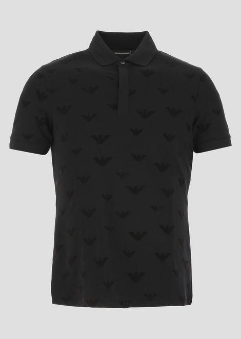 Cotton piqué polo shirt with flocked logo print
