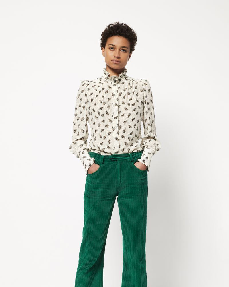 Isabel Marant Tops Official Online Store Green Top Lamia Printed Silk Shirt Woman R