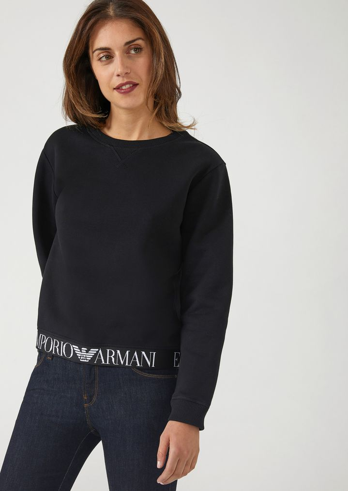 0cfd48d5f Sweatshirt with branded elasticated band on the bottom hem   Woman   Emporio  Armani