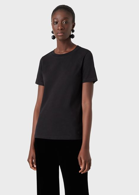 Pure cotton jersey crew-neck T-shirt
