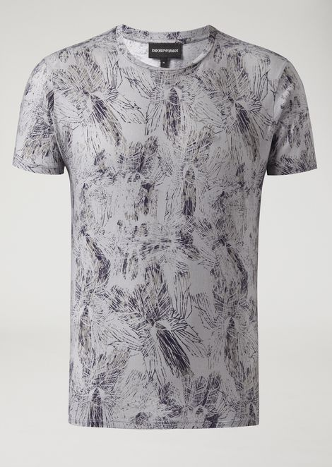 Cotton jersey crew-neck T-shirt with leaf pattern