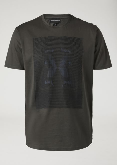 T-shirt in glossy jersey with optical effect butterfly print