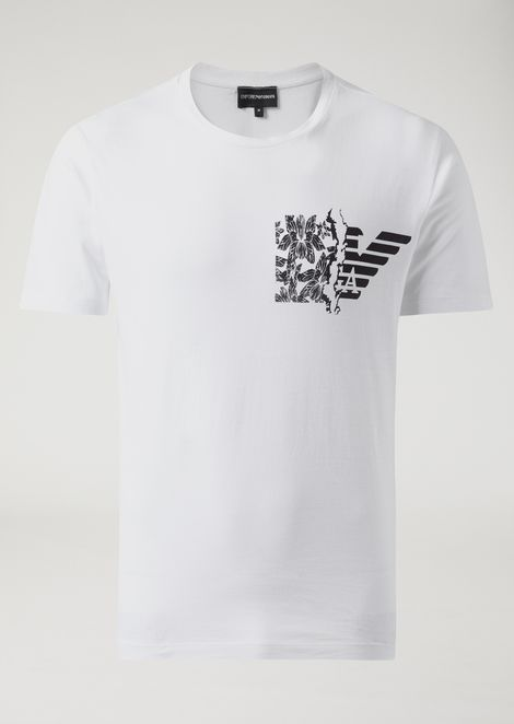 Jersey T-shirt with branded floral print