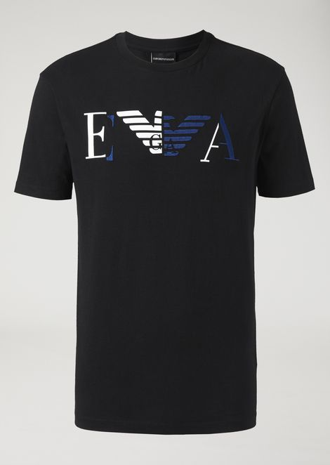 Jersey T-shirt with printed and embroidered EA logo
