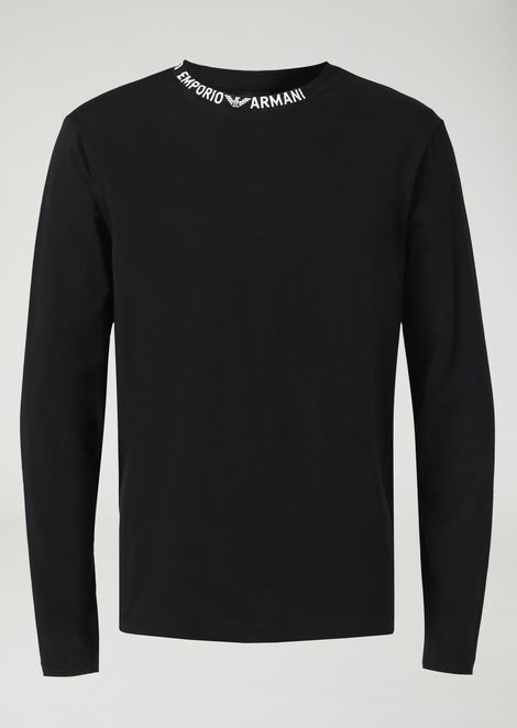 Cotton jersey top with logo lettering on the collar