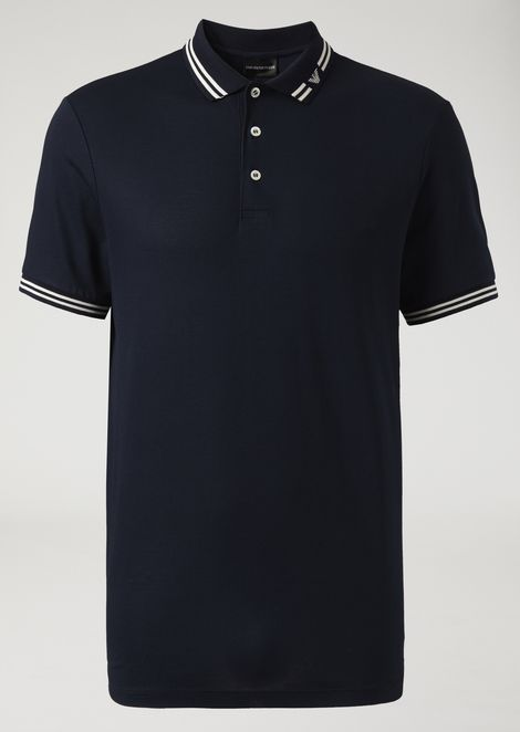 Piqué polo with logo collar
