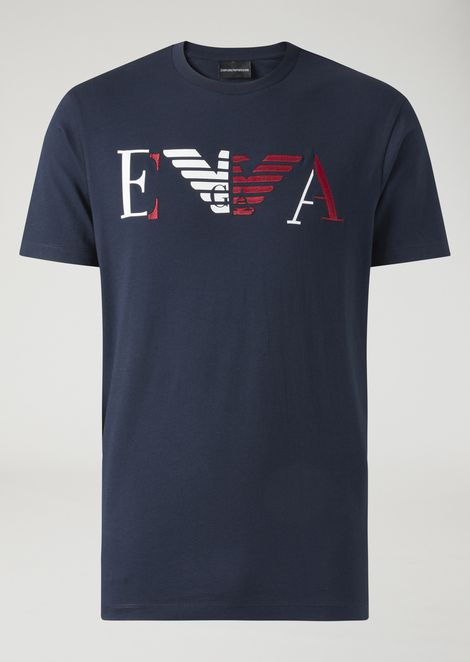 T-shirt in jersey with EA print and embroidery