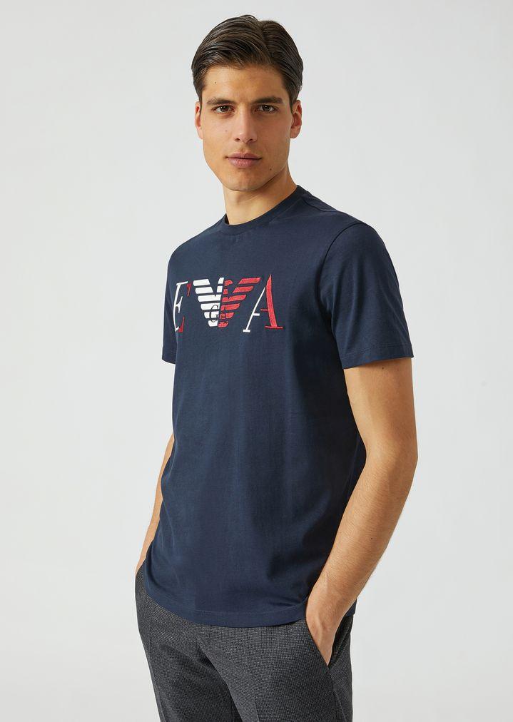 EaHomme Et Logo Broderie Shirt Emporio En T Jersey Avec Imprimé n0wOP8kX