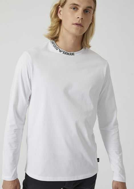 Cotton jersey top with logo writing on the collar