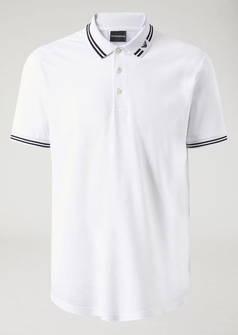 Polo in piqué with logo collar