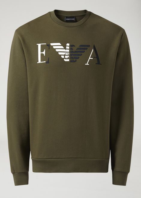 Cotton sweatshirt with print and embroidered EA logo