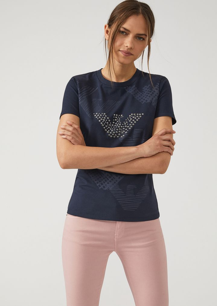 CloutéFemme T Aigle Shirt Imprimés Avec En Jersey Logos Et vNn0m8wO