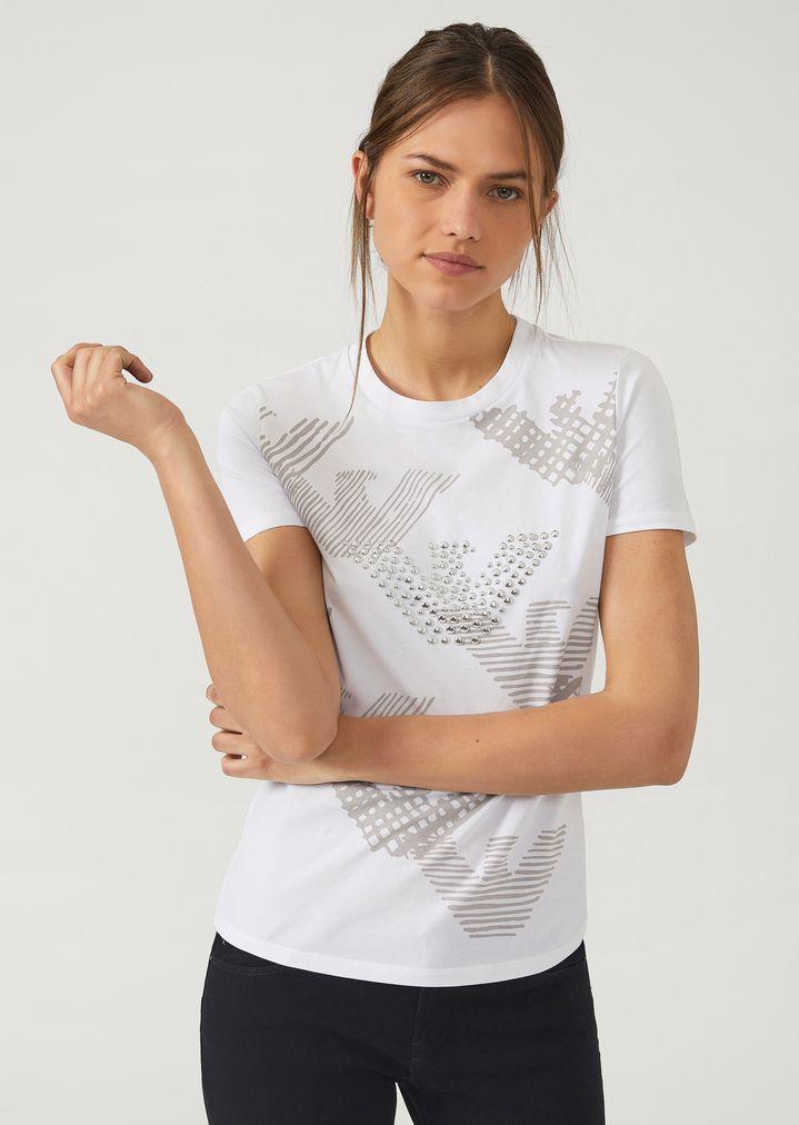 Aigle Avec Femme Clouté Shirt Et Logos En Jersey T Imprimés PZ0wxBnHq
