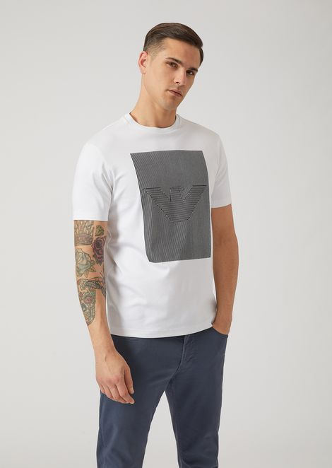 T-shirt in cotton interlock with optical logo print