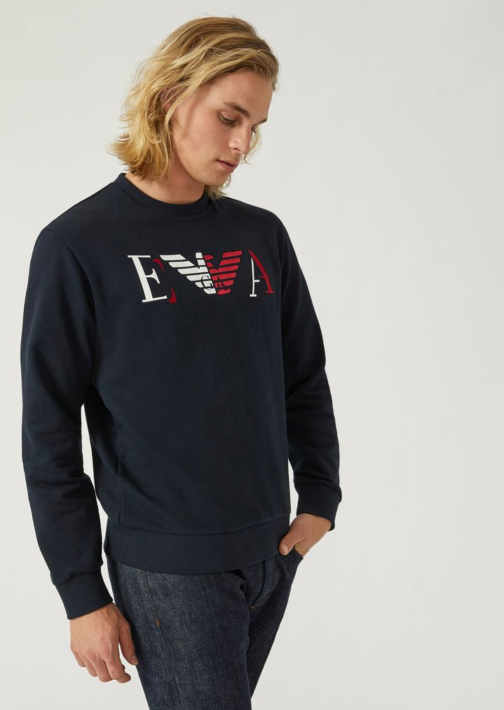 ac4dc5ccbdd04 Cotton sweatshirt with print and embroidered EA logo | Man | Emporio Armani