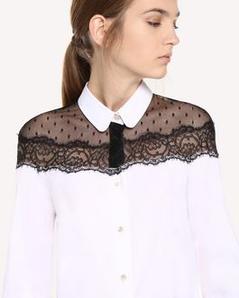 REDValentino Cotton poplin and point d'esprit tulle shirt