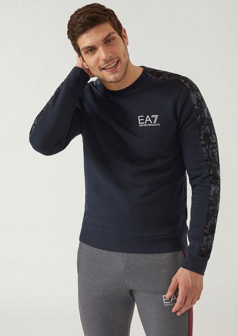 Cotton sweatshirt with sleeve motif and EA7 logo