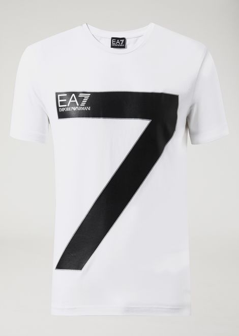 Stretch cotton T-shirt with EA7 logo on the front