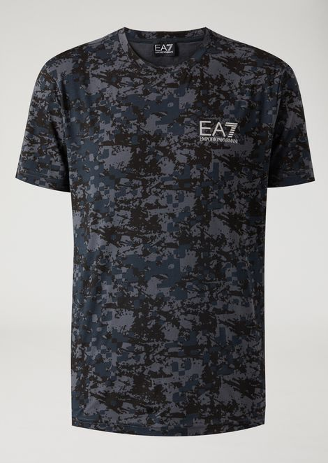 Cotton T-shirt with camouflage pattern