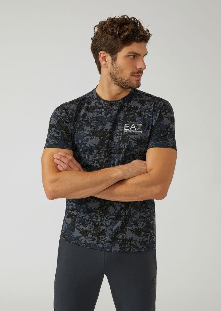 the latest 128de 4350f Cotton T-shirt with camouflage pattern | Man | Ea7