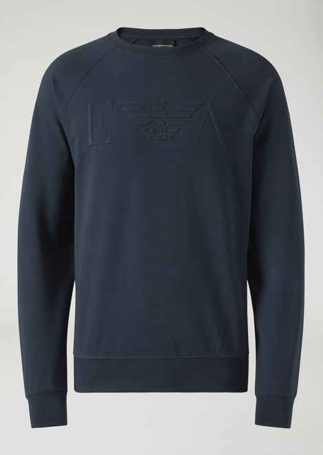 Crew neck sweatshirt in stretch cotton with raised logo