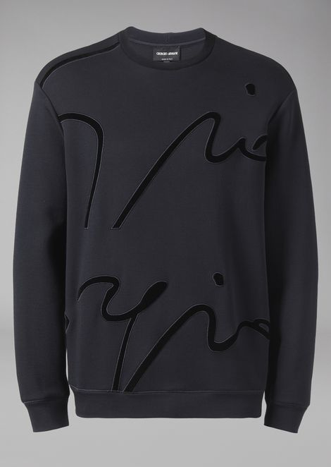 Sweatshirt in micromodal double jersey with velvet embroidered signature