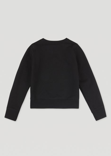 Cotton gauze sweatshirt with embroidered logo