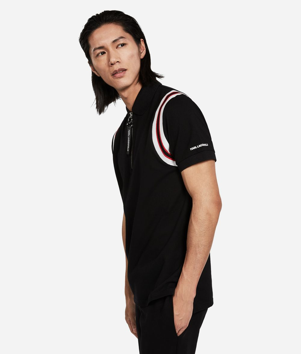 KARL LAGERFELD Cotton Piqué Zipper Neck Polo T-shirt Man d