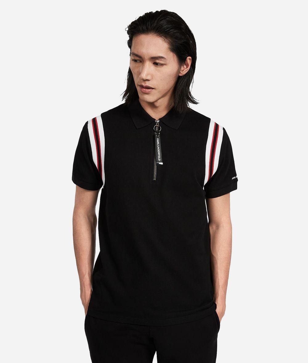 KARL LAGERFELD Cotton Piqué Zipper Neck Polo T-shirt Man f