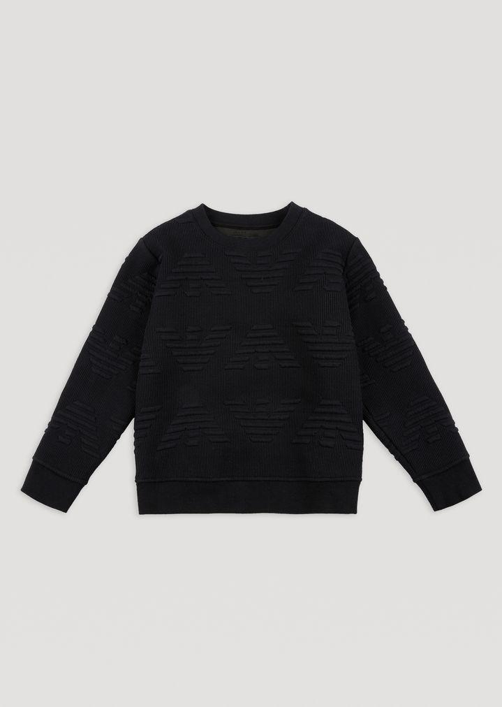 022f208365 Cotton sweatshirt with all-over embossed logo | Man | Emporio Armani