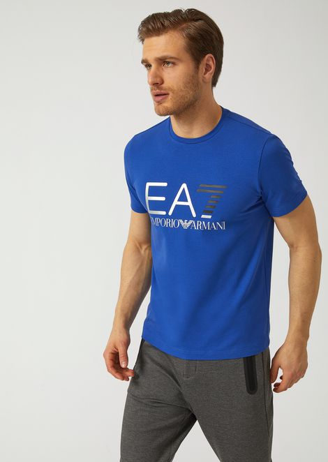 Stretch cotton T-shirt with iconic logo on the front