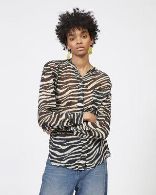 ISABEL MARANT ÉTOILE 셔츠 & 블라우스 여성 JAWS 프린트 조젯 셔츠 r