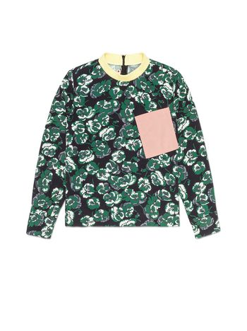 Marni VISCOSE SHIRT WITH POETRY FLOWER PRINT AND CONTRAST BREAST POCKET AND COLLAR Woman