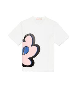 Marni WHITE COTTON T-SHIRT WITH FLORAL PENDANT PRINT  Woman