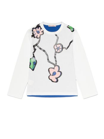 Marni COTTON T-SHIRT WITH FRONT FLORAL PENDANT PRINT Woman