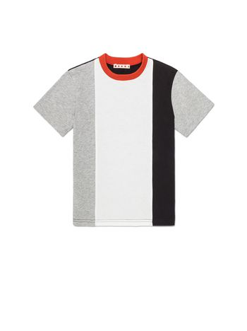 Marni VERTICAL STRIPES T-SHIRT WITH CONTRASTING COLOR NECK Man