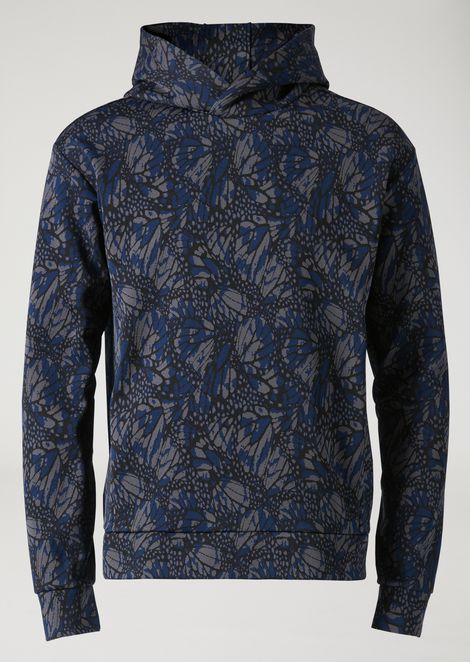 Jacquard sweatshirt with hood and butterfly motif