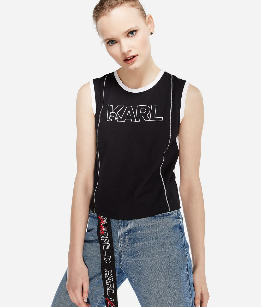 KARL LAGERFELD Karl X Kaia Logo Tank Top T-shirt Woman f