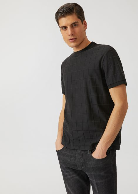T-shirt in stretch cotton with checked jacquard design