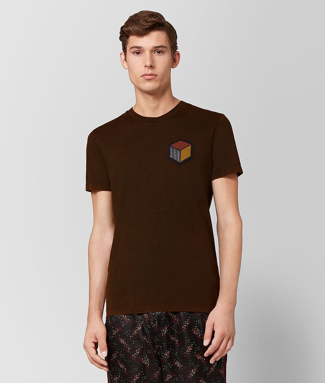 BOTTEGA VENETA DARK LEATHER COTTON T-SHIRT Polo And Tee Man fp