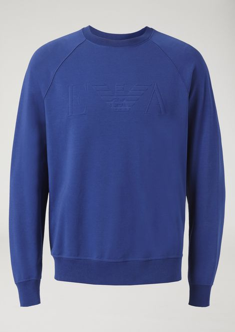 Crew-neck stretch cotton sweatshirt with raised logo